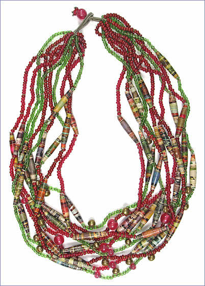 finger woven treasure necklace by Robin Atkins, bead artist