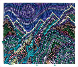 Mountains & Streams, framed bead embroidery by Robin Atkins, bead artist