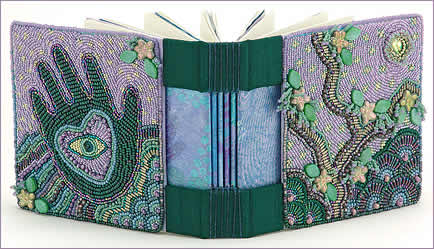 Blessings, hand-bound book with bead embroidered covers (shown open) by Robin Atkins, bead artist