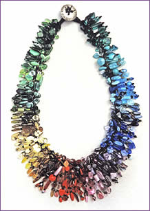 Collector Necklace, a woven treasure necklace featuring vintage pressed glass beads produced in one woman-owned factory in Germany during the 1940s and 50s; necklace by Robin Atkins, bead artist