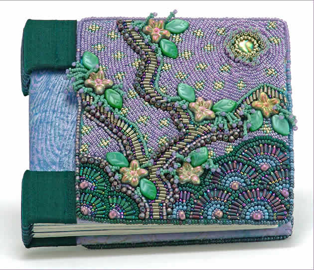 Blessings, hand-bound book with bead embroidered covers, large picture, by Robin Atkins, bead artist