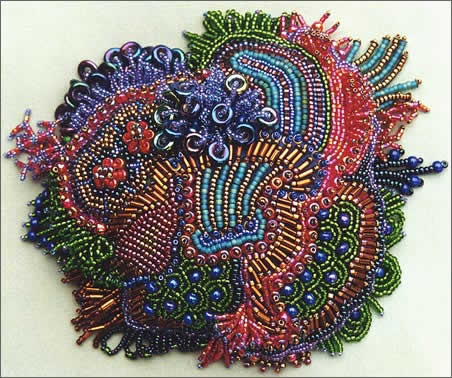 Menopause, large picture, bead embroidery by Robin Atkins, bead artist