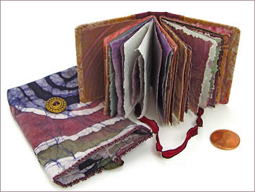 Mini Prayer Book, hand made book featuring painted decorative papers, large picture, by Robin Atkins, bead artist