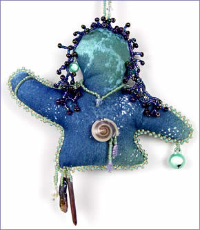 Alaska, spirit doll in memory of teaching trip to Anchorage, Alaska by Robin Atkins, bead artist