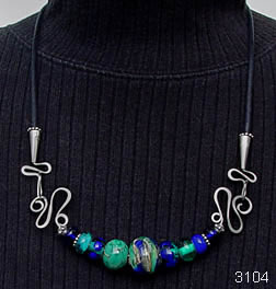 cobalt blue and teal green necklace by Robin Atkins, bead artist.