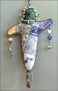 Quilt Dolly, spirit doll by Robin Atkins, bead artist