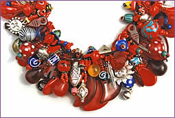 Mostly Red, detail of a woven treasure necklace by Robin Atkins, bead artist