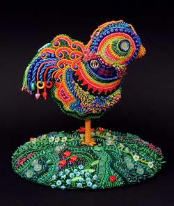 Rosie, The Uncaged Hen, beaded sculpture by Robin Atkins, bead artist